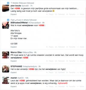 Opmerkingen over iOS8 op Twitter